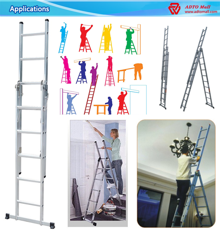 2 Sections Aluminum Extension Ladder